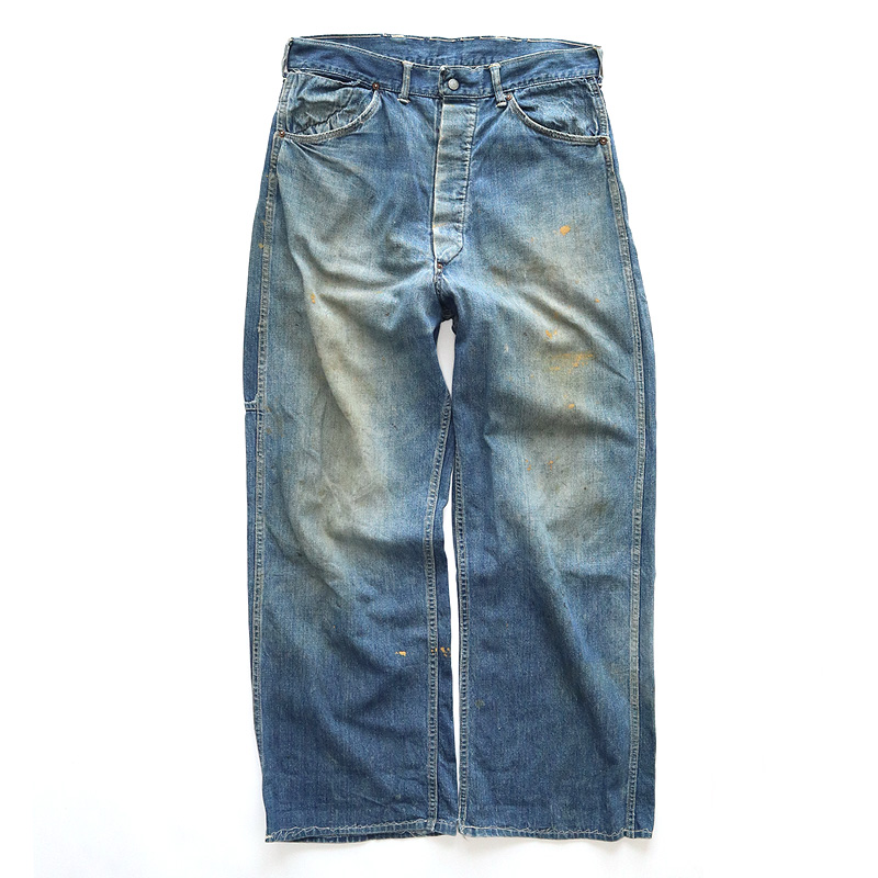 "画像1: 40's UNKNOWN BRAND DENIM PAINTER PANTS ""BLACK CHAMBRAY POCKET"" (1)"