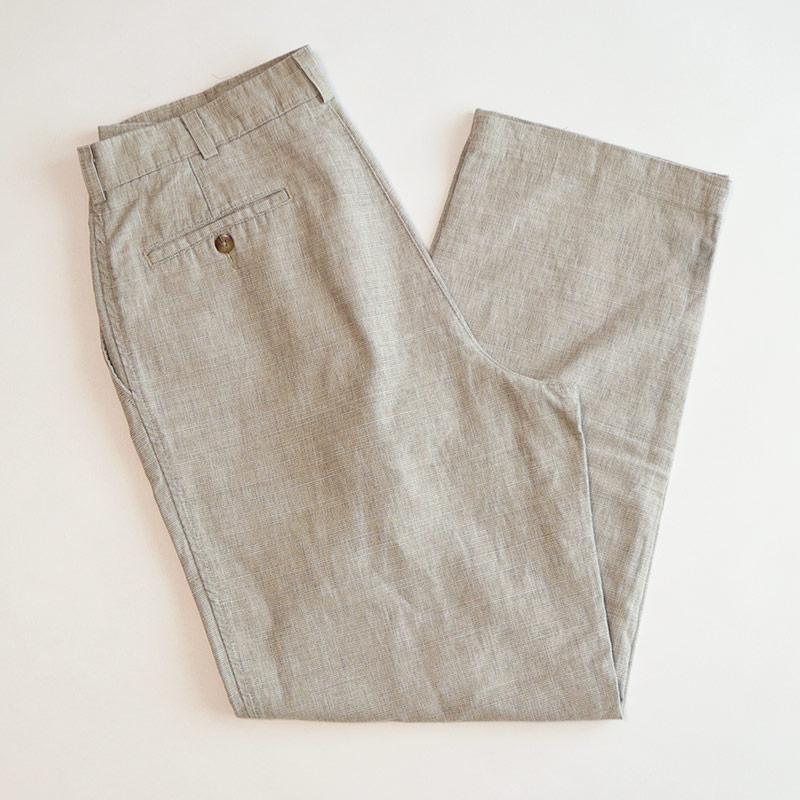画像1: SAVANE COTTON LINEN PIN CHECK TUCK PANTS (1)