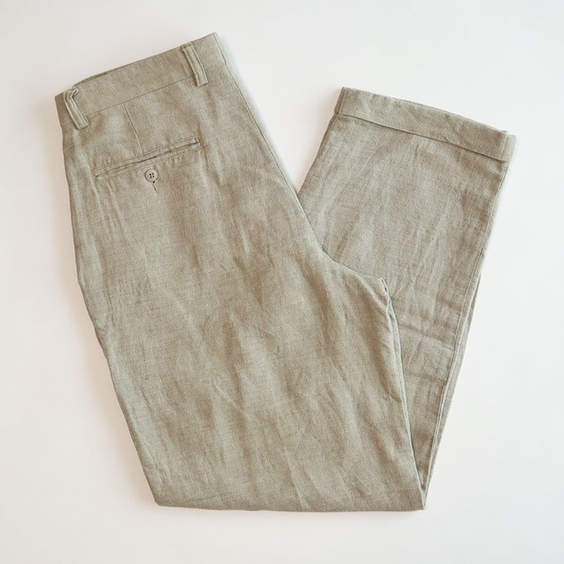 画像1: claiborne COTTON LINEN TUCK PANTS (1)