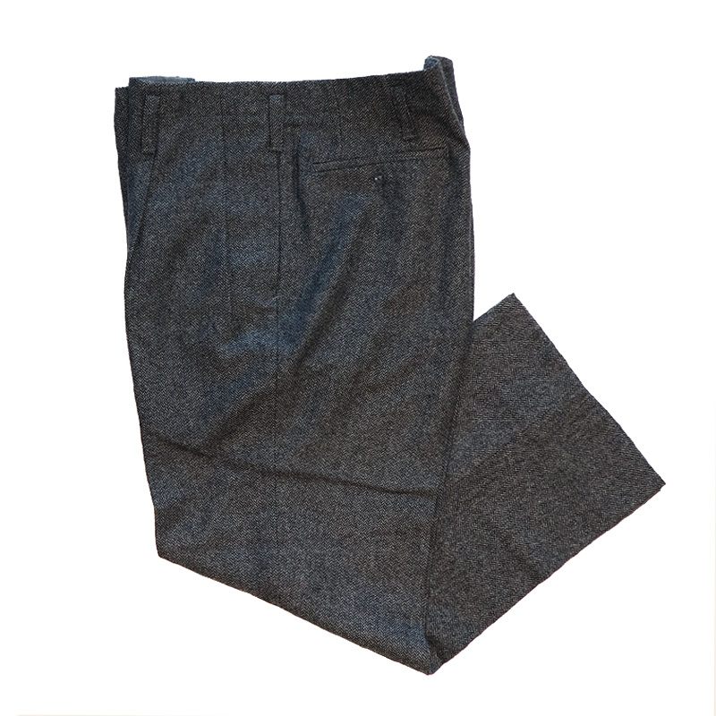 画像1: OLD UNKNOWN BRAND WOOL HERRINGBONE TUCK SLACKS (1)