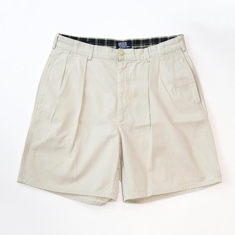画像1: Polo by Ralph Lauren COTTON TWILL TUCK SHORTS【W34 程度】 (1)