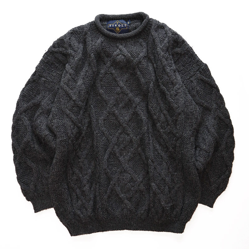 画像1: TIVOLI WOOL HAND KNIT ROLL NECK FISHERMAN'S SWEATER (1)