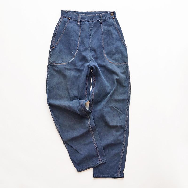 画像1: 〜60's UNKNOWN BRAND VAT-DYED DENIM RANCH PANTS (1)