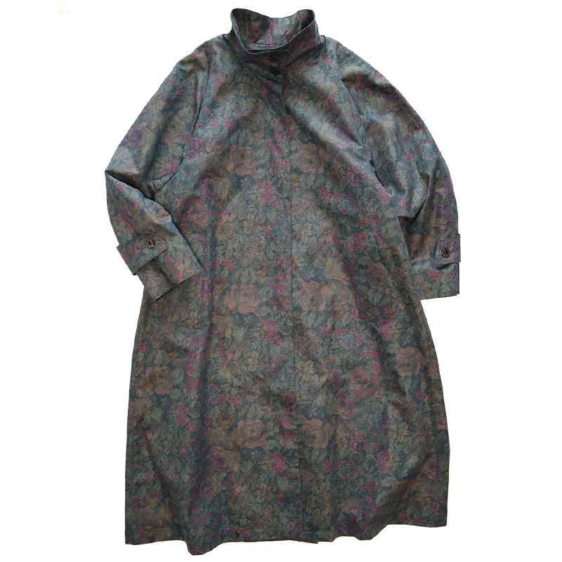 画像1: LONDON FOG BOTANICAL PRINT STAND COLLAR COAT with LINER (1)