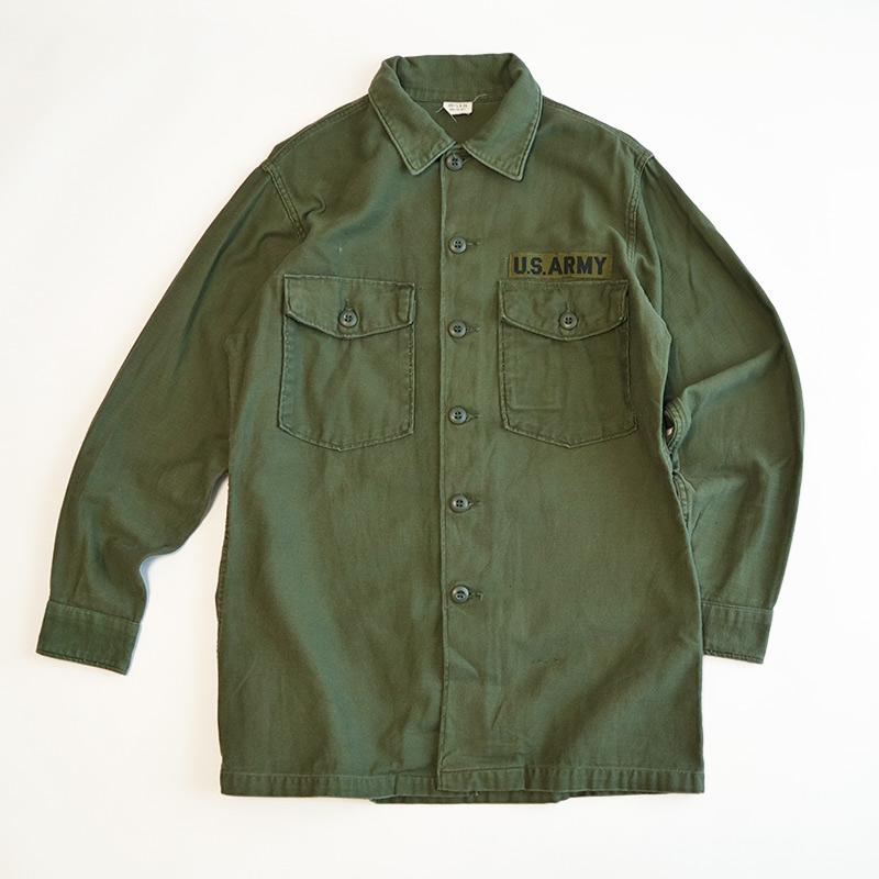 画像1: 60's US ARMY COTTON SATEEN UTILITY SHIRT JACKET (1)