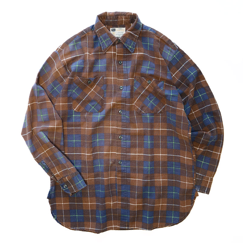 画像1: 〜70's Sears PRINT CHECK FLANNEL SHIRT (1)