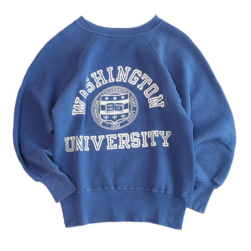 "画像1: 50'S Champion COTTON FLOCK PRINT CREW NECK SWEAT ""WASHINGTON UNIVERSITY"" (1)"