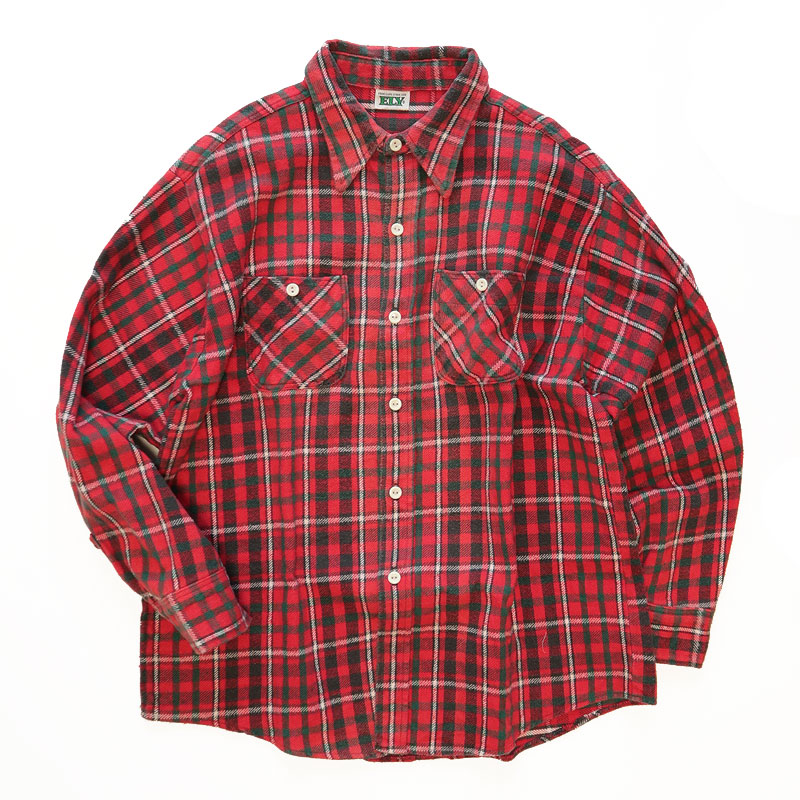 画像1: 70's ELY COTTON CHECK HEAVY FLANNEL SHIRT (1)