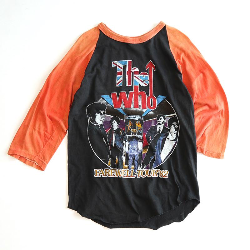 "画像1: 80's UNKNOWN BRAND COTTON W-PRINT RAGLAN 3/4 SLEEVE ARTIST TEE ""THE WHO FAREWELL TOUR '82"" (1)"