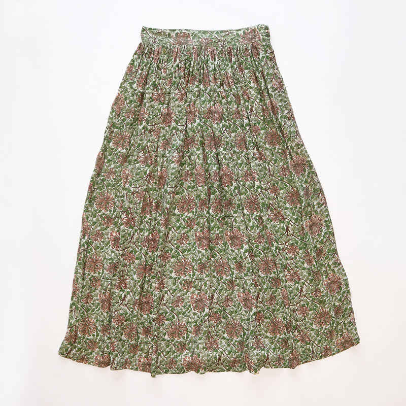 画像1: 60's UNKNOWN BRAND RAYON GATHER SKIRT (1)