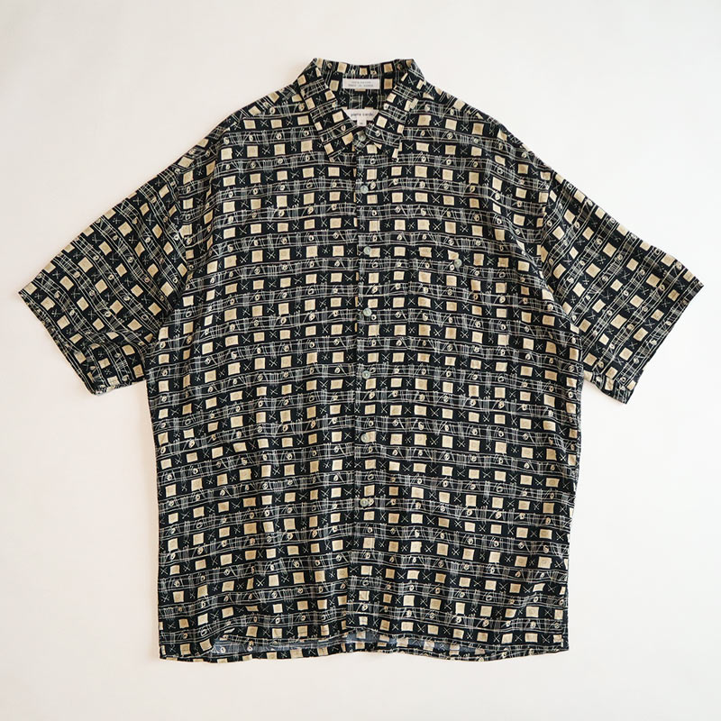 画像1: 〜90's pierre cardin RAYON ALL OVER PATTERN S/S SHIRT (1)